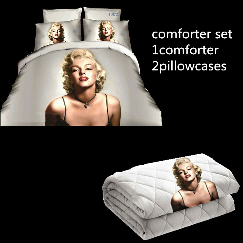 Aliexpress Com Buy Home Textile Marilyn Monroe Bedding Sets 3 Pcs Comforter Set Pillowcase King Size Black And White From Reliable Marilyn Monroe Bedding