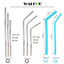 WALFOS 2 piece High Quality 304 food grade Stainless Steel Metal Drinking Straw Reusable Straws + 1 Cleaner Brush