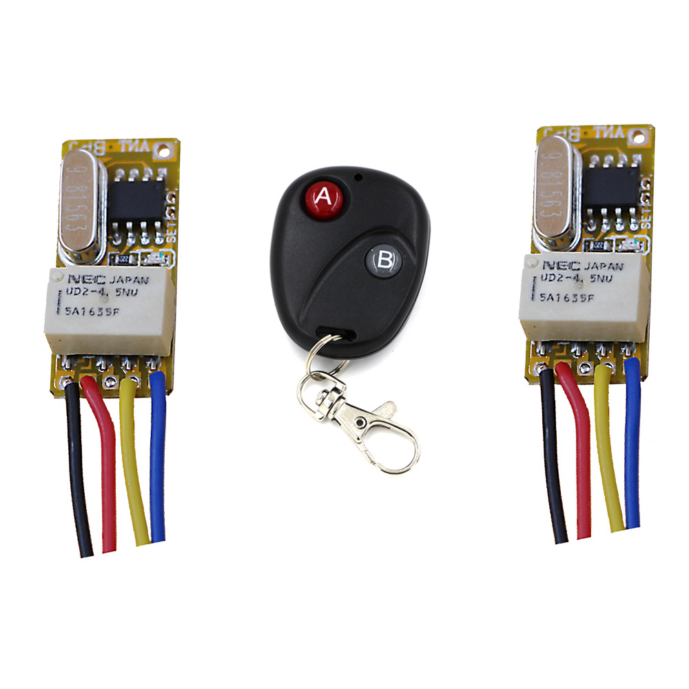Hot Sale DC 3.5V -12V 2pcs Mini Relay Receiver+ Transmitter DC3.7V 4.5V 5V 6V 9V 12V Minitype Micro Remote Control Switch Small high sensitivity small remote relay switch dc 3 5v 12v mini receiver with transmitter normally open close wireless switch top