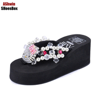 Cute Kitty Thong Slippers Full Rhienstiones Shiny Beach Shoes Women Flip Flops Glittering Wedge Sandals Woman