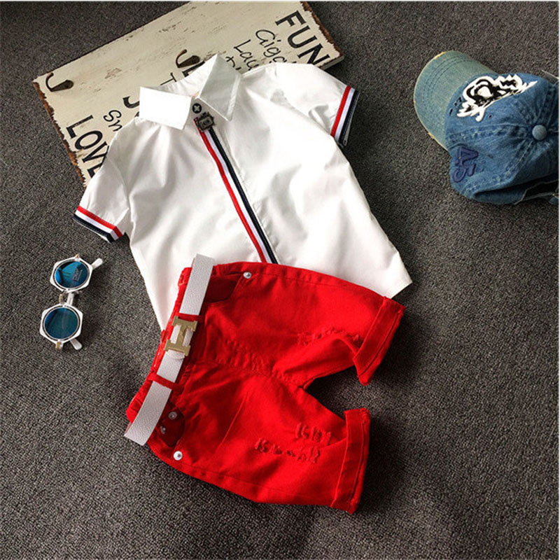 Girls Summer Casual Clothes Set Children Short Sleeve white T-shirt + red Pant Suits 2016 Girl Clothing Sets for Kids