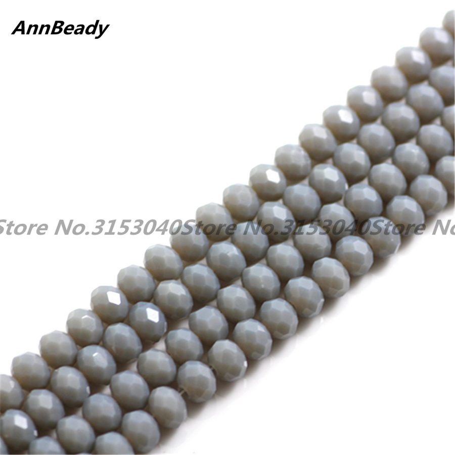 50pcs Solid Grey Color 6mm Rondelle Spacer Austria Crystal beads For DIY Jewelry Making ...