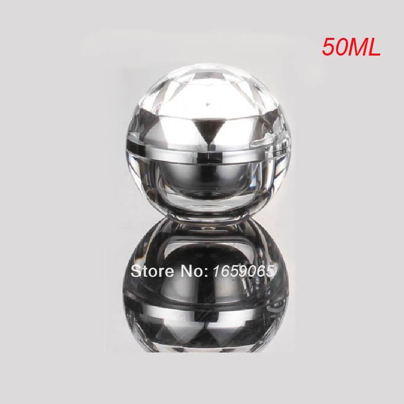 50g srebrna akrilna kroglična oblika plastenka s kozmetičnimi - Orodja za nego kože