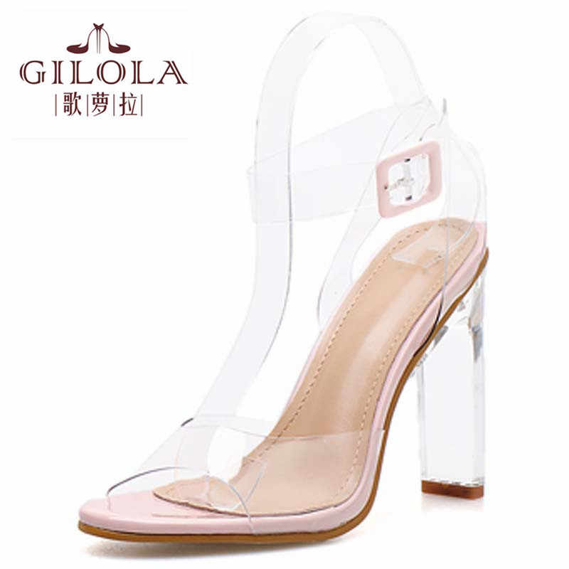 Thin Heels PVC Clear Women Sandals Ankle Wrap High Heels Fashion Shoes Woman Spring Summer Sandals Best #Y0226165Q