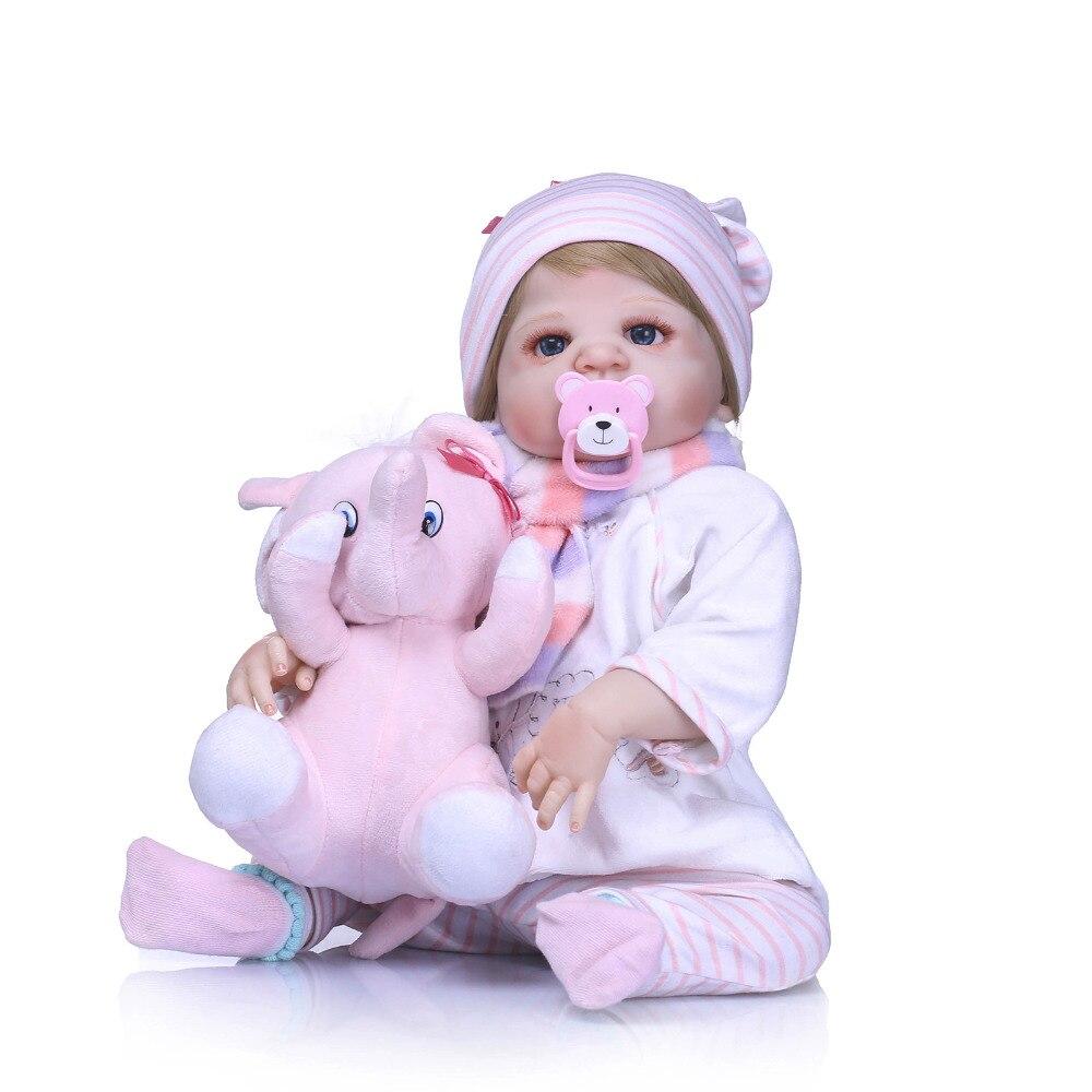 Nicery 22inch 55cm Bebe Reborn Doll Hard Silicone Boy Girl Toy Reborn Baby Doll Gift for Child Pink Elephant Toy Baby DollNicery 22inch 55cm Bebe Reborn Doll Hard Silicone Boy Girl Toy Reborn Baby Doll Gift for Child Pink Elephant Toy Baby Doll