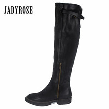 Jady Rose Black Genuine Leather Women Over The Knee Boots Slim Fit Martin Boots Flat Shoes Woman Platform High Botas Militares