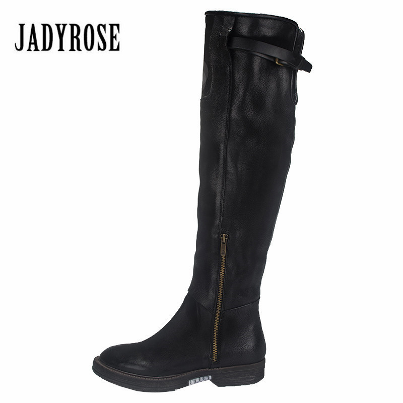 Jady Rose Black Genuine Leather Women Over The Knee Boots Slim Fit Riding Boots Flat Shoes Woman Platform High Botas MilitaresJady Rose Black Genuine Leather Women Over The Knee Boots Slim Fit Riding Boots Flat Shoes Woman Platform High Botas Militares