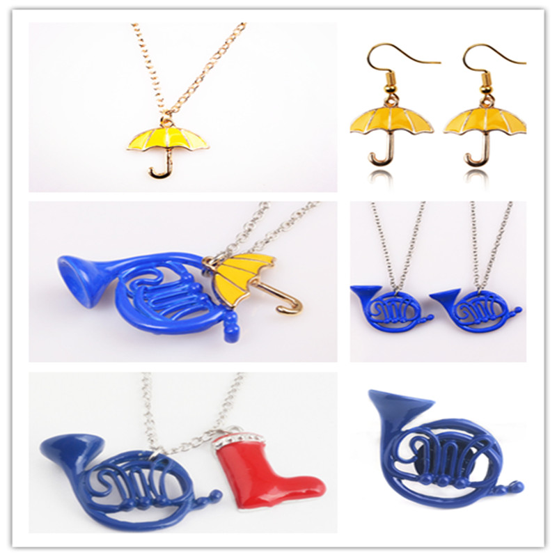 TV HIMYM Fashion How I Met Your Mother Blue French Horn Umbrella red Rain boots Necklace pendants factory outlet
