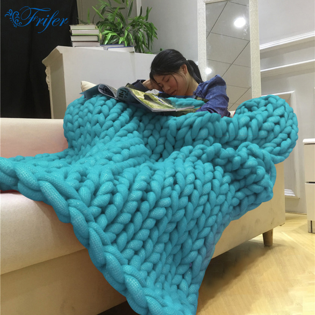 7 Colors Thick Line Handmade Knitted Yarn Blanket Blending Anti-Pilling Super Warm Blankets Used in Bed Sofa Plane Cobertor throw blanket thick plush blankets super soft and warm cotton knitted blanket on sofa bed thick baby blanket 150 200cm 100 120cm