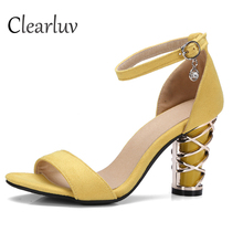 Hot Selling Women Solid Black Strange Style Peep Toe Metal Heel Ankle Buckle Strap Pumps Summer Fashion Chain Decoration Sandals цены
