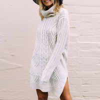 Casual Long Sweaters Women Turtle Neck Solid Color Sweaters Twisted Knited Loose Sweater