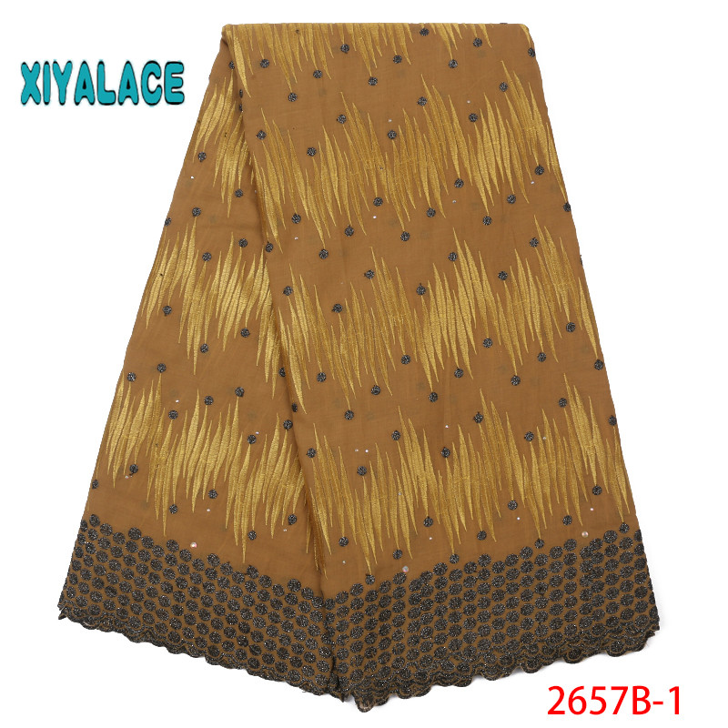 African Lace Fabric 2019 High Quality Lace Voile Lace Fabric New Design Swiss Voile Lace Switzerland Add Stones YA2657B-1