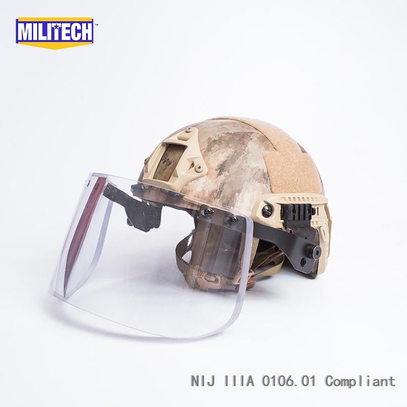 MILITECH ATACS AU OCC Liner Set NIJ IIIA FAST Bulletproof Helmet and Visor Set Deal Ballistic Helmet Ballistic Bullet Proof Mask