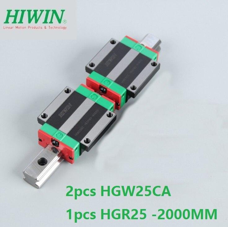 1 adet 100% orijinal Hiwin lineer kılavuz rayı HGR25-L 2000mm + 2 adet HGW25CA HGW25CC flanş blok taşıma cnc router