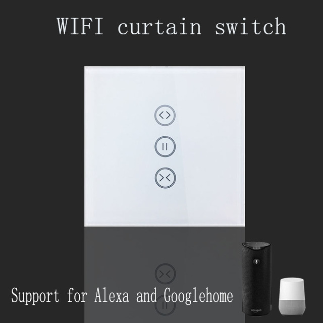 US $23 39 46% OFF|Tuya app EU wifi smart touch curtain switch voice control  by Alexa and Google phone control For Electric curtain motor -in Automatic