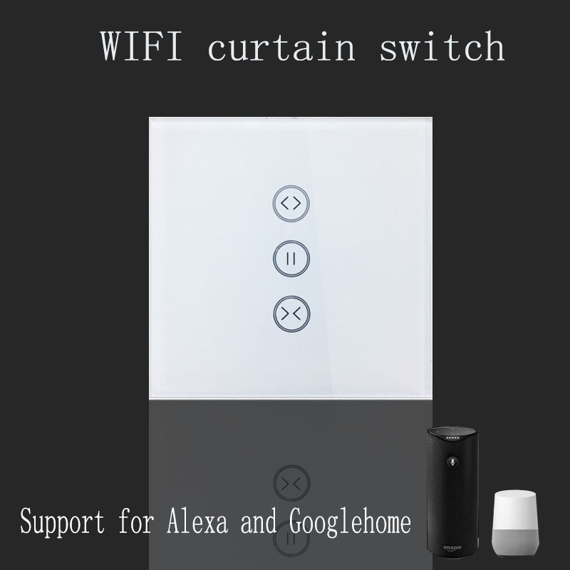 Tuya app EU wifi smart touch curtain switch voice control by Alexa and Google phone control with feedback