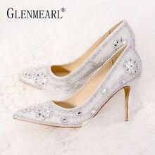 купить Women Wedding Shoes High Heels Luxury Design Women Pumps Crystal Pointed Toe Party Shoes Brand Sliver Plus Size Female Pumps DE дешево