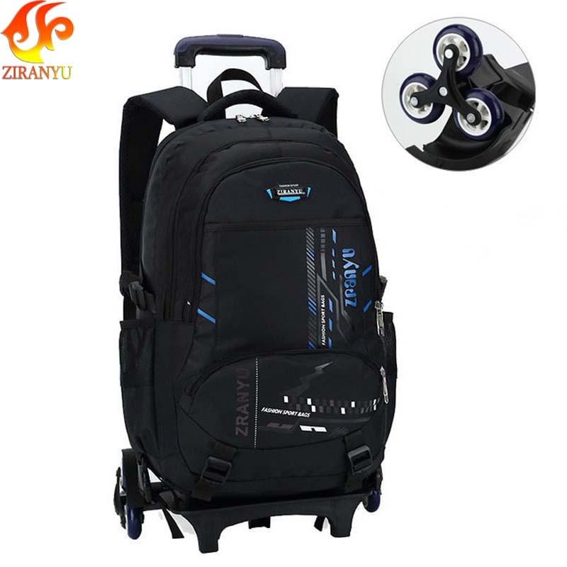 ZIRANYU Latest Removable Children School Bags 2 6 Wheels Stairs Kids boys girls backpacks Trolley Schoolbag