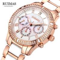 RUIMAS Women Ceramic Clock Butterfly Design Women's Mechanical Watch Top Brand Luxury Women Sapphire Crystal Female Watches Gift