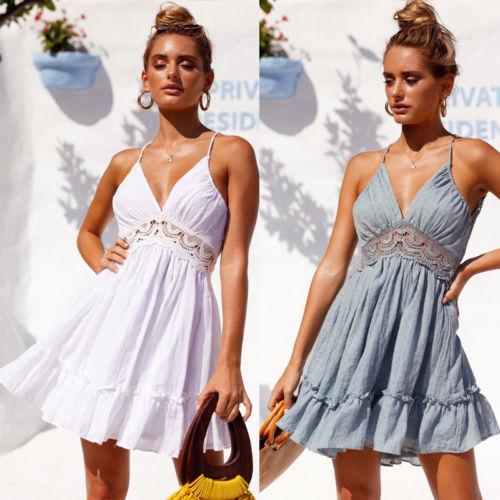 Fashion Women Lace Short Dresses Lady Prom Evening Party Dress Sleeveless