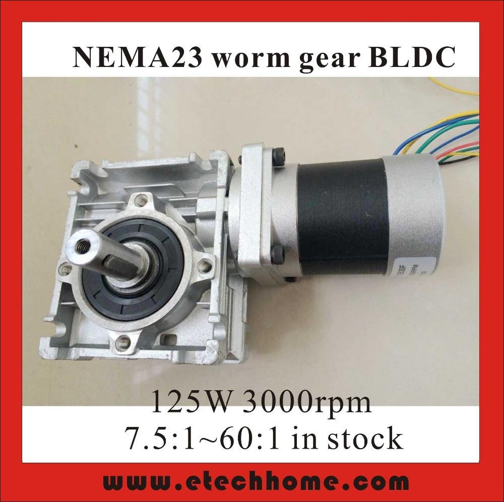 NEMA 23 Worm Reducer Brushless DC Motor 24V 3000rpm 125W Gear Ratio 5 7 5 10