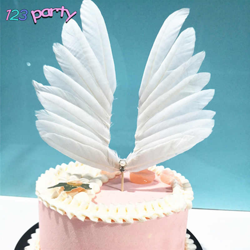 Крылья Ангела Торт Топперы Свадебный кекс торт флаг праздничное украшение для дня рождения вставка для торта выпечки Декор Лебедь крылья из перьев