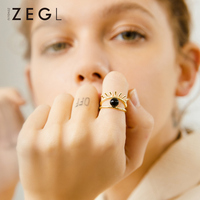 ZEGL black beads ring index ring opening decorative ail finger ring female