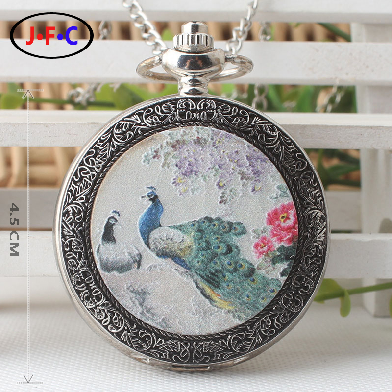 New pattern Peacock quartz pocket Watch Young men and women Watch Student Birthday gift table pocket watch chain DS300 european and american movies aladdin and the magic lamp quartz pocket watch do the old flip quartz watch chain table ds274