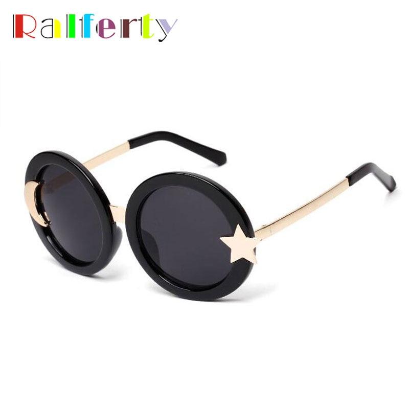 Ralferty Moon Star Round Sunglasses Women Brand Designer Retro Sun Glasses UV400 Goggles Circle Shades Oculo lunette femme 1007