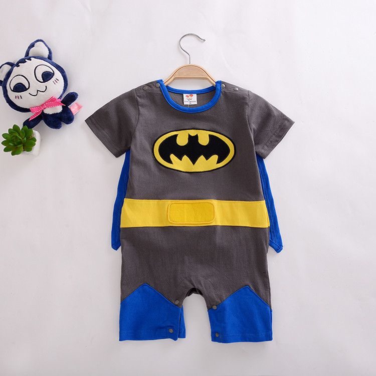 Newborn Baby Boy Cartoon Superman Batman   Romper   Party Outfits Fancy Costume Superhero Kid Girls Clothes Cloak Decor Boys   Rompers