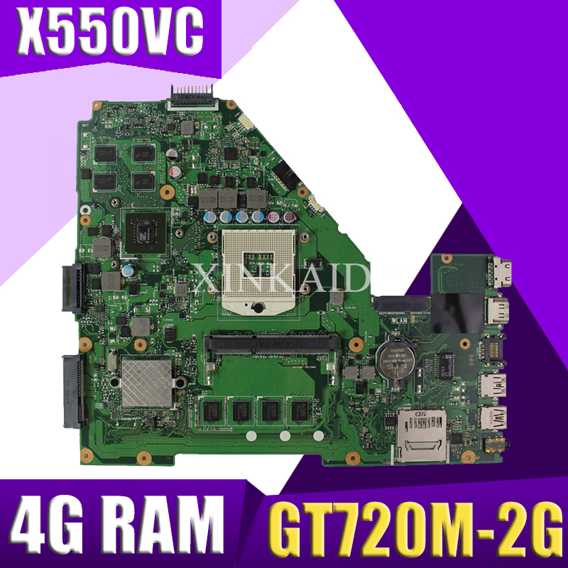 XinKaidi  X550VC Laptop Motherboard For ASUS X550VC R510V X550V X550 Test Original Mainboard 4G RAM GT720M-2G