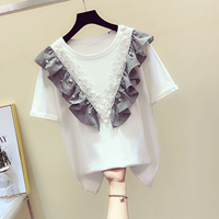2019 New Summer T shirt Female Beaded Lotus Leaf Edge Lace Stitching Tshirts Womens Round Neck Short Sleeve T shirts Loose Tees