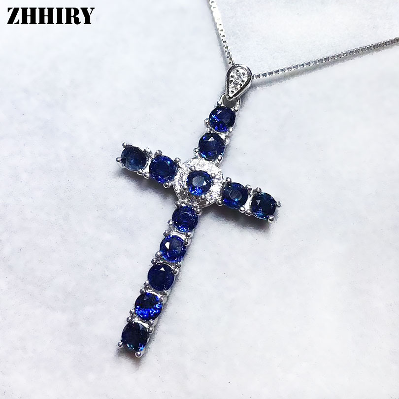 ZHHIRY Women Natural Sapphire Cross Necklace Pendant Genuine Solid 925 Sterling Silver Pendants Real Fine Jewelry 2 3mm red natural agate necklace multi layers 925 sterling silver with real pearl fine womne jewelry wedding party necklace