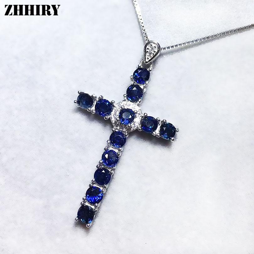 ZHHIRY femmes saphir naturel croix collier pendentif véritable solide 925 Sterling argent pendentifs réel bijoux fins