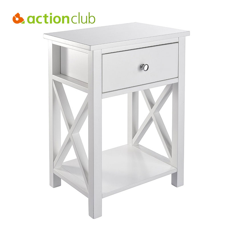 Actionclub x design side end table living room storage shelf with bin drawer white black diy for White end tables for living room