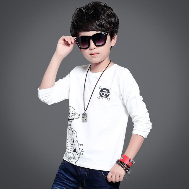 Anime Cráneo corrió kid t-shirt para niños ropa de manga larga t-shirt blanco gris niños de dibujos animados tops camisetas primavera otoño 2017