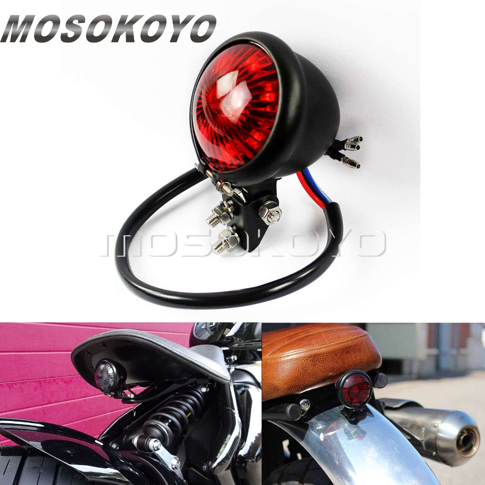 Retro Custom Motorcycle LED Taillight Bates Rear Tail Brake Stop Light For Harley Cafe Racer Scrambler