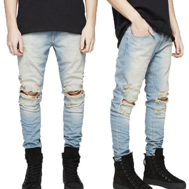 Aliexpress.com : Buy PUNKOOL Mens Skinny Jeans 2016 Ripped Jeans ...