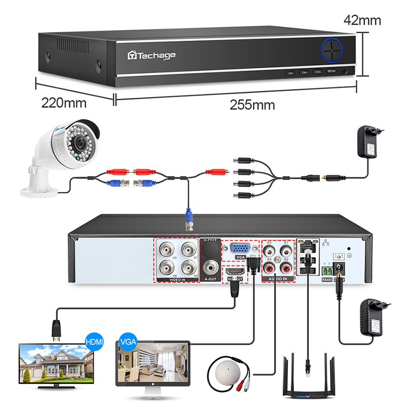 Image 2 - Techage CCTV Camera System 4CH 1080P 2MP AHD Security Camera DVR Kit IP66 Waterproof Outdoor Home Video Surveillance Set 1TB HDD-in Surveillance System from Security & Protection