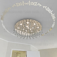 Mirror Wall Stickers Retro Wreath Garland Royal Palace Luxury Vintage Frame Ceiling Chandelier Light Lamp Ring Round R026