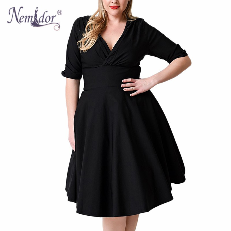Nemidor Women 1950s Half Sleeve V neck Retro Plus Size 8XL 9XL A line Dress Elegant Stretchy Cocktail Knee Length Swing Dress