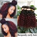 Бразильский вьющиеся волосы 3 пучки два тона ломбер 1b 99j темно корень бургундия конце вьющиеся человеческие волосы курчавые прямо короткие волосы реми переплетения