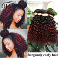 Brazilian curly hair 3bundles two tone ombre 1b 99j dark root burgundy end curly human hair kinky straight short remy hair weave
