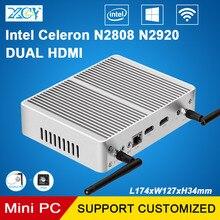XCY мини-ПК Celeron N2920 N2808 Двухъядерные безвентиляторный Micro настольный компьютер Dual HDMI WIFI 6USB Windows10 HTPC неттоп