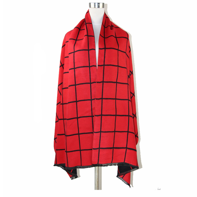 Inverno reversível novo Plaid Cashmere Pashmina feminino quente grossa capa duas - xale lado cachecol Echarpes Chal tamanho 185 * 65 cm NP024
