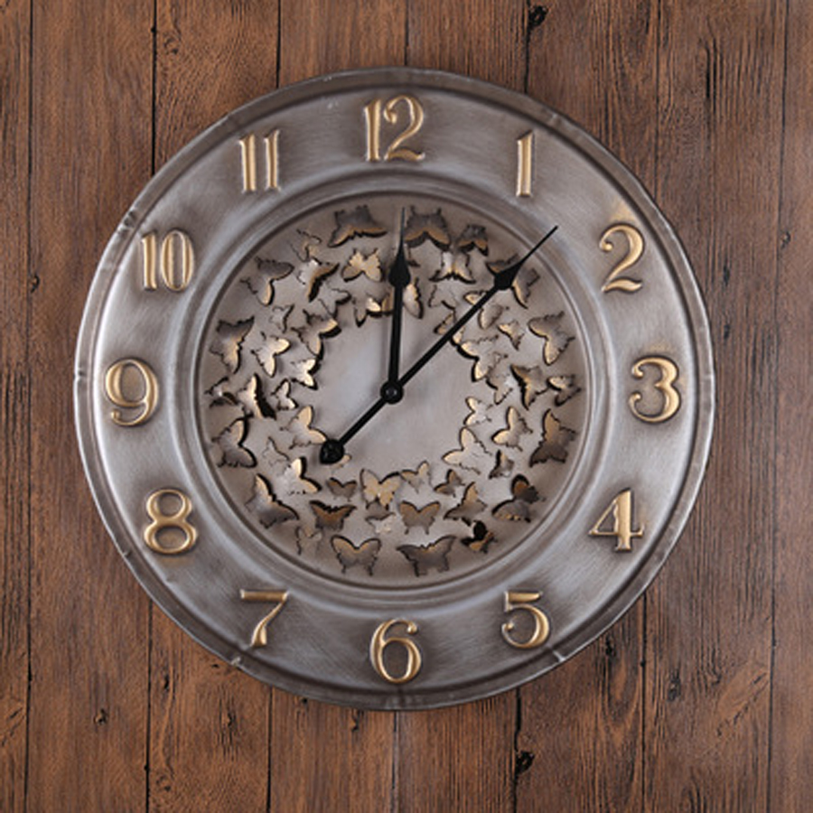 Large Metal Wall Clock Modern Design Classic 3d Stickers European Retro