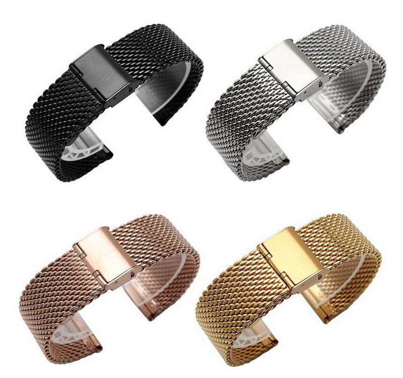 Metal Stainless Steel Milanese Watch Band Strap Wrist Watchband Buckle Black Rose Gold Silver 16mm 18mm 20mm 22mm 24mm Man Women 18mm 20mm 22mm 24mm stainless steel watch band curved end strap men women wrist belt butterfly buckle bracelet black gold silver