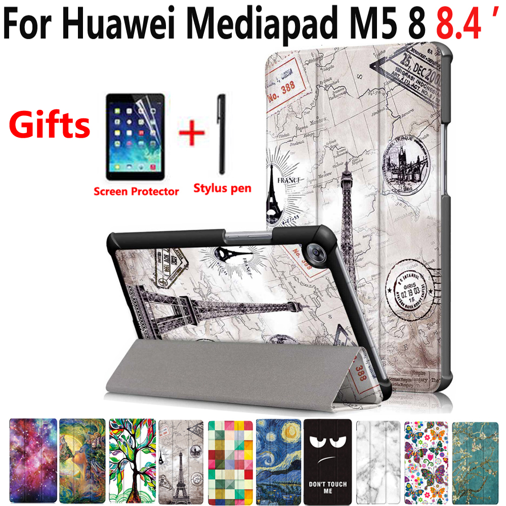 Smart Case for Huawei Mediapad M5 8 8.4 inch SHT-W09 AL09 Cover Tablet Slim Stand PU Leather Case for Huawei Mediapad M5 8.4 for huawei mediapad m5 pro 10 8 back case m5pro protective cover shell for huawi mediapad m5 10 8 inch tablet protector covers