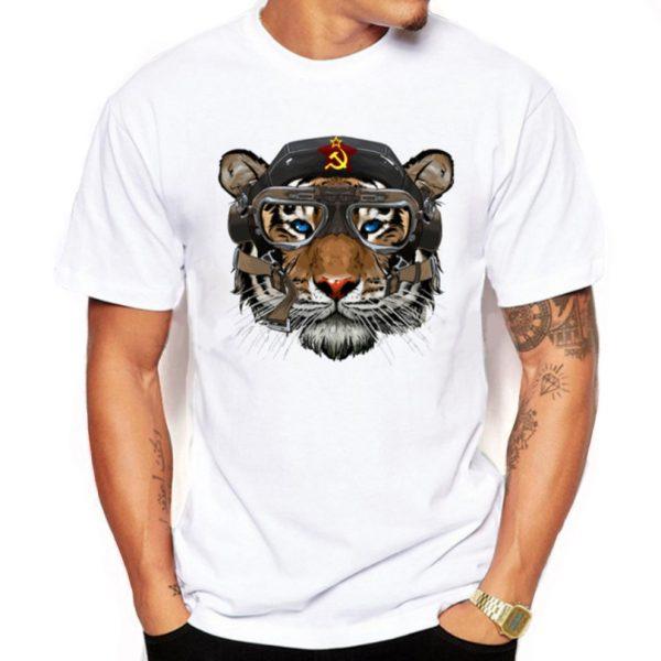 Pottis Tigernout camiseta impresa vintage hombres tigre con emblemas - Ropa de hombre