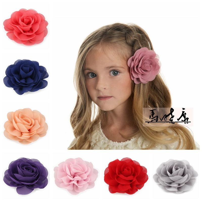 30pcs/lot 20colors 8.5cm Chiffon Petals Poppy Flower Hair Clips Rolled Rose Fabric Hair Flowers For Kids Girls Hair Accessories